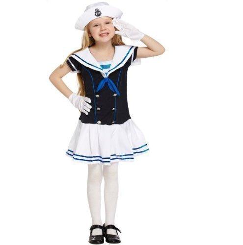 neblau Matrose See Kadett Uniform büchertag Kostüm Kleid Outfit 4-12 Jahre - Blau, 7-9 Years (Matrose Kostüm Zubehör)