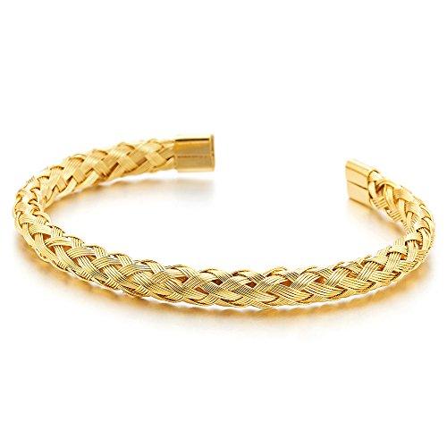 COOLSTEELANDBEYOND Elastische Verstellbare Edelstahl Goldfarben Geflochtene Verflochtenen Stahlkabel Armband Herren Damen, Armreif