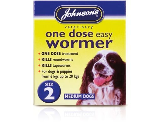 Medium upto 20 kg – Johnsons One Dose Easy Wormer Tablet Worming Dogs Dewomer