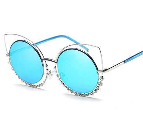 Sport-Sonnenbrille Brille polarisiert mit Anti-Schock-Anti-Kratz einzigartige Struktur für die Hände zu fahren und die Frauen Radfahren Angeln Wandern Golf Driving Laufen ( Color : Blue ) (Radfahren Schocks)