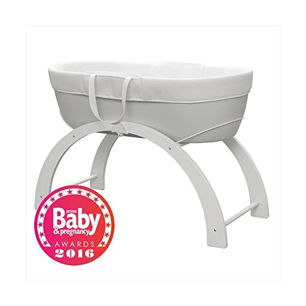 Shnuggle Dreami Moses Basket and Curve Rocking Stand - Pebble Grey  The perfect Moses Basket and Stand to keep baby close, day & night. Breathable 3D Mesh Covers and ventilated base for excellent airflow Quickly change from fixed to rocking position. 8