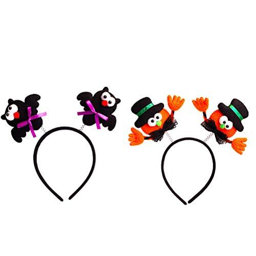 Stirnband, Kopfbedeckung, Party-Haarreifen, leuchtende Party-Cosplay-LEDs, schwarzer Hut und Hand, schwarzer Fledermaus, 2 Stück ()