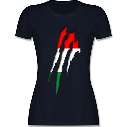EM 2016 - Frankreich - Ungarn Krallenspuren - tailliertes Premium T-Shirt mit Rundhalsausschnitt für Damen Navy Blau