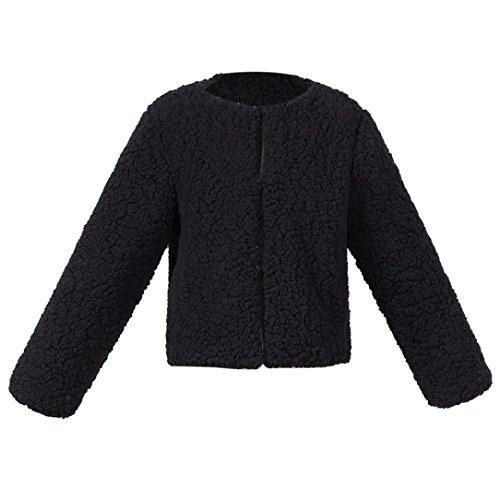 Kaschmir langärmelige Strickjacke,HKFV Herbst Winter Faux Kaschmir Mantel Jacke Dicke Warm Outwear Kleidung (100, Schwarz) (Cashmere-fleece-shirt)
