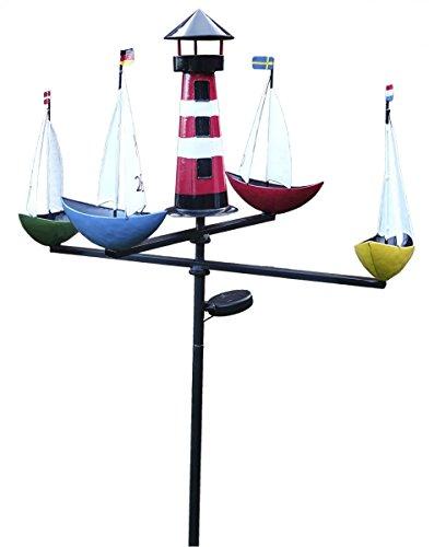 Fachhandel Plus XL LED Solar Windspiel Schiffsregatta Gartenstecker Karussell Gartendeko
