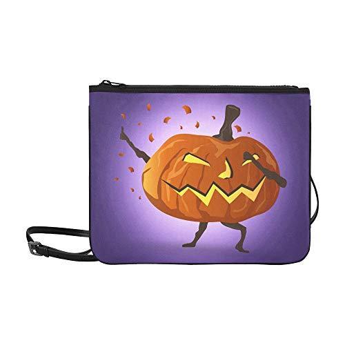 (Tupfende Nacht Halloween Kürbis Cartoon Charakter Benutzerdefinierte hochwertige Nylon Slim Clutch Crossbody Tasche Umhängetasche)