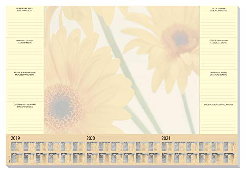 SIGEL HO380 Papier-Schreibunterlage, ca. DIN A2 - extra groß, mit 3-Jahres-Kalender und Wochenplan, 30 Blatt - weitere Designs -