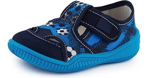 Ladeheid pantofole a strappo bambino lavi0002 (blu marino/blu, 20)