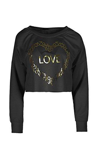 Be Jealous Frauen Damen Beiläufig Lose Ausgebeult Ernte LIEBE Golden Übergroße Mini T Shirt Kleid Uk Größe 8-16 Schwarz