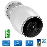 VIGICA sans Fil Caméra Sécurité Batterie Rechargeable WiFi Surveillance IP Caméra Etanche Extérieur 1080P, Alarme Capteur de Mouvement PIR, Version Nocturne, Audio bidirectionnel, iOS Android Remote