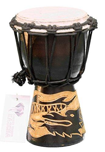 Kascha - 20cm Kinder Djembe Trommel Bongo Drum Buschtrommel Afrika-Style handgeschnitzt aus Mahagoni Holz Drache