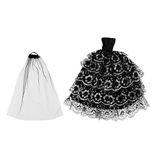 (P Prettyia Hochzeit Kleidung Kleider Für Puppen Dolls Schwarz Brautkleid Abendkleid Puppenkleidung für Weihnachten Geburtstag Geschenk)