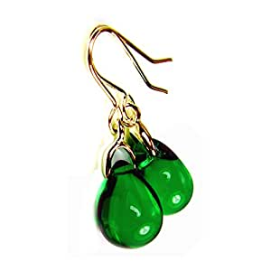 Green Earrings Emerald Glass Teardrops Gold Plated Free Gift Box by Diosa Jewellery