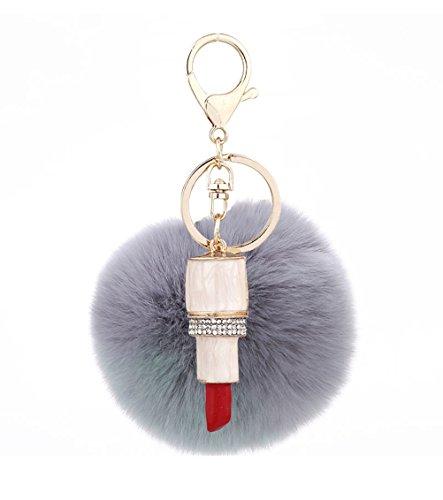 Mxixi couleur artificiel unie lapin boule de fourrure rouge à lèvres pendentif porte-clés moelleux sac à main charme clé anneau clé de voiture décoration (Couleur 11)