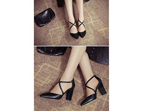 Beauqueen Scarpin incrociate delle donne delle donne delle fibbie delle pompe delle scarpe casuali PARTY Scarpe eleganti dell'alto tallone dell'Europa formato 34-39 White