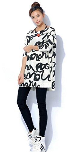 Bigood Pull Mi-long Femme Sweat-shirt Grande Taille Sweat Col Rond Manche Longue Chauffant Blanc