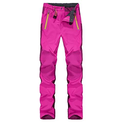 Montbreaker Damen Outdoor Sport Alle Jahreszeiten Wasserdichte Ribstop Wanderhose Stretch Walking Camping Hose Pink L
