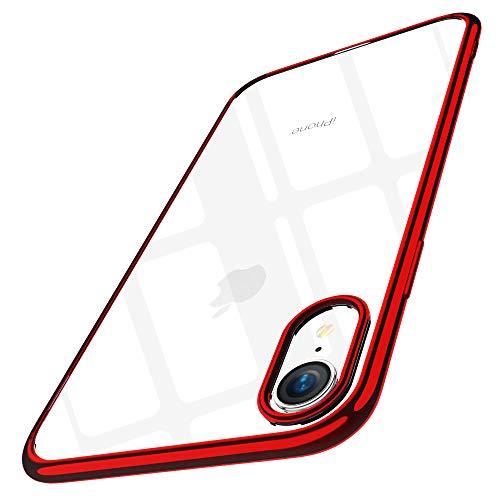 Joyguard iPhone XR Hülle, iPhone XR Hülle Durchsichtig Weiche Silikon Plating Überzug TPU Bumper Ultra Slim Kratzfest Schutz für iPhone XR Hülle Transparent - 6.1 Zoll - Rot