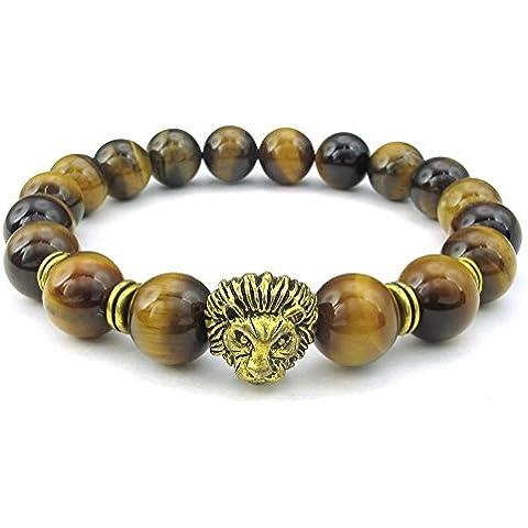 KONOV Joyería Pulsera de hombre, 10mm Piedras Naturales Bola Brazalete, León Charm, Ojo de Tigre Aleación, Color marrón oro (con bolsa de regalo)