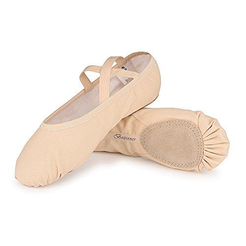 Weicher Ballettschläppchen Tanz Geteilte Ledersohle Schuhe Gymnastik Tanzen Hausschuhe für Mädchen Frauen Damen (Beige, 25=6.80 inch)