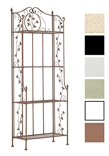 CLP ESTANTERIA ESTABLE DE HIERRO ARONA  158X60X33 CM  PLEGABLE  4 BALDAS (HASTA 6 COLORES PARA ELIGIR) MARRON ANTIGUO