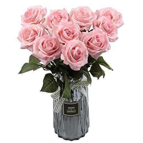Furnily Möbliert Real Touch Rosen 10 STÜCK Künstliche Blumen Anordnung Brautstrauß Rose Naturseide Gefälschte Rose für Hochzeit Herzstück & Täglichen Gebrauch (Rosa)