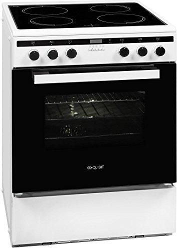 Exquisit Elektro-Standherd in Weiß/Edelstahl, 60 cm Elektrobackofen EHI - Ofen Kontrolllampe