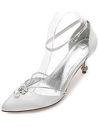Zapato Tacón Salon es Zapatos Plata De Para Amazon 5Rv7qx