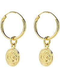 c09ec4726f25 Iyé Biyé Jewels - Pendientes aros lisos 12 mm moneda romana 5 mm mujer niña  plata
