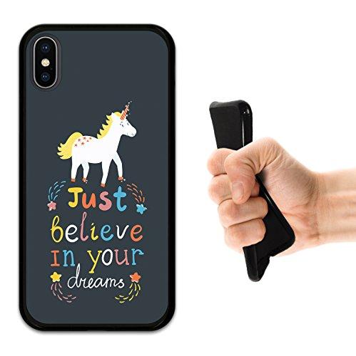 iPhone X Hülle, WoowCase Handyhülle Silikon für [ iPhone X ] Kopfhörer Handytasche Handy Cover Case Schutzhülle Flexible TPU - Schwarz Housse Gel iPhone X Schwarze D0116