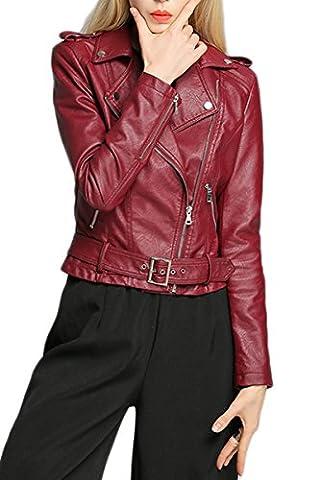 YMING Blouson Femme Pu Jacket Veste en simili cuir à revers et manches longues,Bordeaux,S