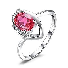 Idea Regalo - JewelryPalace Donna Gioiello 1.4ct Occhio Sintetico Rosso Scuro Rubino Solitario Anello di Promessa Argento Sterling 925 Regali di San Valentino (19,5)
