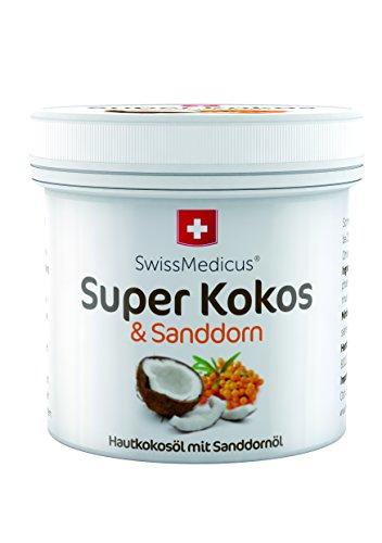 SwissMedicus Super Kokos & Sanddorn - Kokosöl mit Sanddorn, Philippinisches befeuchtend iIntensive Pflege für Gesicht, Körper, Haare, Haut, Lippen, natürlicher Kokosnuss-Duft, 150 ml.