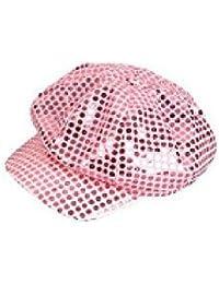 Disco Fancy Dress Hat 60 - Sparkly Sequin Cap Pink - Retro Fancy Dress