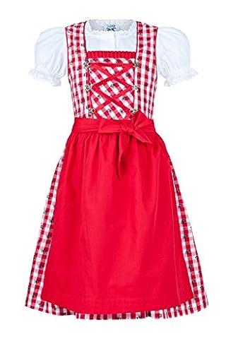 Trachten Kinderdirndl von Isartrachten in rot weiß kariert (80)