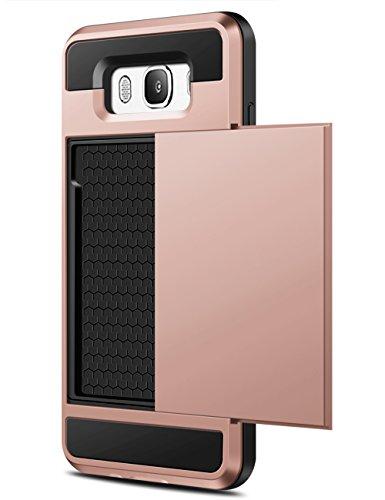 Samsung Galaxy J7 2016 Hülle, Coolden® Prämie Brieftasche Outdoor Drop Resistance Bumper Kameraschutz 2 Kartenfach Ausweisetui Kreditkartenetui Schutzhülle für Samsung Galaxy J7 Handyhülle Samsung Galaxy J7 J710 Tasche Rosegold