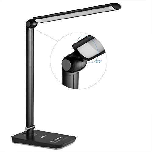 LEDGLE Lámpara de mesa 9W, plegable Luz con control táctil, 7 modos de brillo ajustable, 7 modo de temperatura de color, diseño giratorio,Lámpara de escritorio para lectura