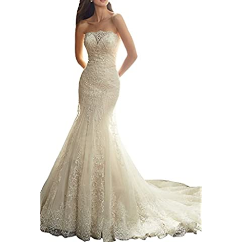 Toscana sposa Mermaid senza spalline e affascinante principessa sposa vestimento lungo tempo abiti da sposa punta, un'altezza mode