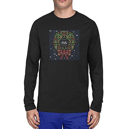 Planet Nerd - Game Over Stitches - Herren Langarm T-Shirt, Größe XL, schwarz (Wario Kostüm Mädchen)