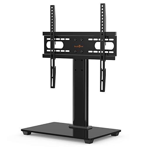 TV Standfuß, TV Ständer für 37-55 Zoll OLED LCD Plasma Flach & Curved Fernseher oder Monitore bis zu 40kg. Max.VESA 400x400mm - Schwarz Glas Plasma Tv-ständer