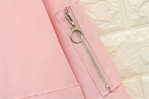 Damen Frauen Langarm BF Metall Kette Leichtgewicht gedruckt Windbreaker Mantel Bomber Jacke Rosa