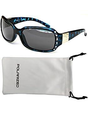 VOX Femenina Gafas de Sol Polarizadas Diseñador Moda Diamantes de Imitación – Marco de tortuga azul- Lente de...