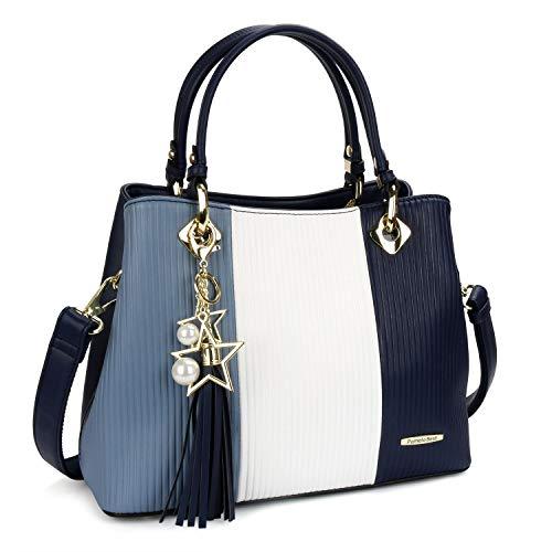 Pomelo Best Damen Handtasche Mehrfarbig gestreift Umhängetasche Shopper Tote Henkeltasche (Marineblau)