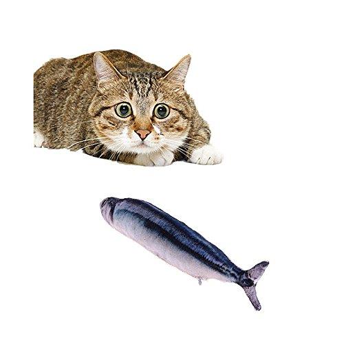 """Haustier Spielzeug Katzenminze Kauspielzeug Plüsch Fisch Muster Interaktive Haustiere Kissen für Katzen Kätzchen (11.8""""(mit Reißverschluss), Saury)"""