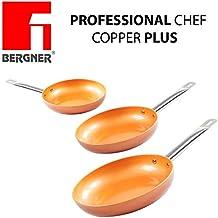 Bergner - Juego de 3 sartenes Chef Copper Plus de cobre, muy resistentesDiámetro de 20