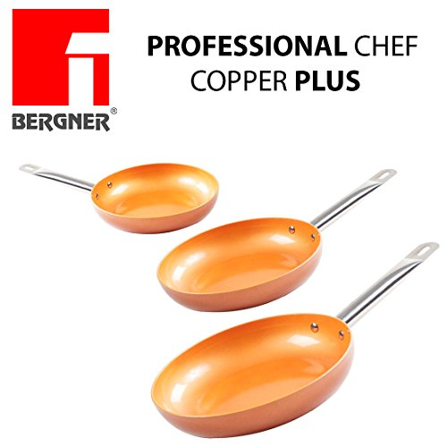 Originali Chef Copper Plus - Set di 3 padelle in rame super resistente! Diametro 20/24/28 Innovativo rivestimento antiaderente senza PFOA - pan red pans Fondo idoneo per cucina a induzione 1165