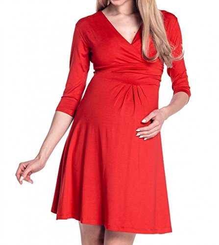 Happy Mama Women's Maternity Casual Dress Knee Length 282p (Red, UK 10, M)