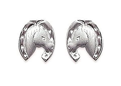 Bijoux Enfants Argent 925/000 - Boucles d'Oreilles Fer à Cheval Porte Bonheur - Clou Puce