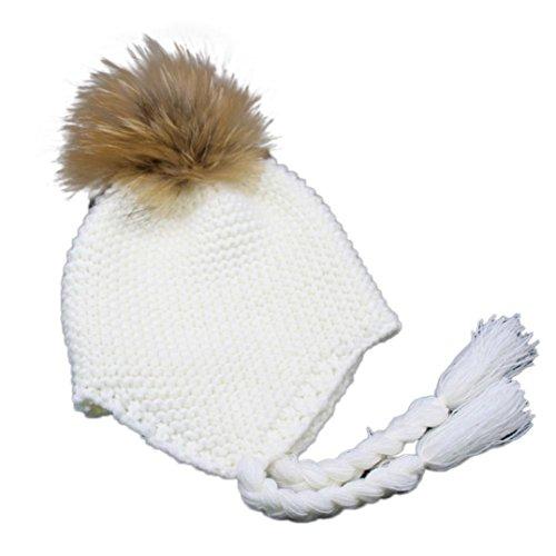 Für 1-4 Jahre altes baby Strickmützen,Amlaiworld Baby Ohrenschützer gestrickt warme Winter Mütze Hut (Weiß)