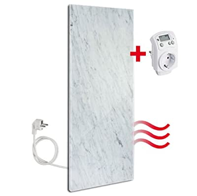 Carrara Marmor Infrarotheizung 800 watt von Granotech® mit Thermostat | Heizstrahler Elektroheizung Wandheizung Heizplatte Paneelheizkörper Wärmewellenheizung Natursteinheizung IR Heizung Heizpaneel von Granotech® Natursteinheizung - Heizstrahler Onlinesh